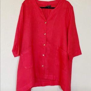 FOR CYNTHIA 100% Linen Tunic Top Sz XL